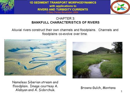 1D SEDIMENT TRANSPORT MORPHODYNAMICS with applications to RIVERS AND TURBIDITY CURRENTS © Gary Parker November, 2004 1 CHAPTER 3: BANKFULL CHARACTERISTICS.