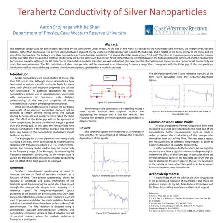 Terahertz Conductivity of Silver Nanoparticles Abstract: The electrical conductivity for bulk metal is described by the well-known Drude model. As the.