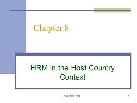 HRM in the Host Country Context
