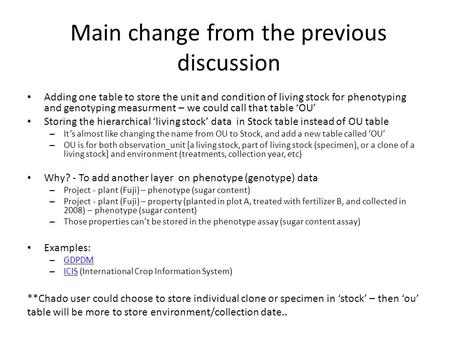 Main change from the previous discussion Adding one table to store the unit and condition of living stock for phenotyping and genotyping measurment – we.