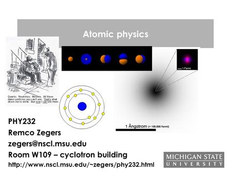 Atomic physics PHY232 Remco Zegers Room W109 – cyclotron building