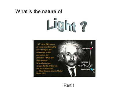 What is the nature of Part I. The invention of radio? Hertz proves that light is really an electromagnetic wave. Waves could be generated in one circuit,