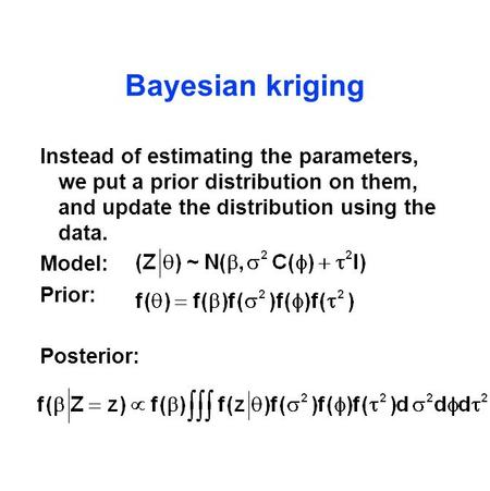 Bayesian kriging Instead of estimating the parameters, we put a prior distribution on them, and update the distribution using the data. Model: Prior: Posterior: