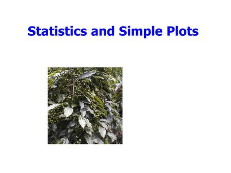 Statistics and Simple Plots. Outline Announcements: –Homework II: due Wed. by 5, by e-mail Cookie Challenge Statistics Simple plots Tutorial 4.