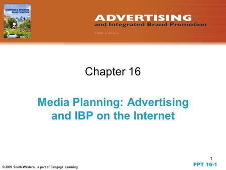1 © 2009 South-Western, a part of Cengage Learning Chapter 16 Media Planning: Advertising and IBP on the Internet PPT 16-1.