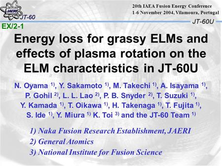 Energy loss for grassy ELMs and effects of plasma rotation on the ELM characteristics in JT-60U N. Oyama 1), Y. Sakamoto 1), M. Takechi 1), A. Isayama.