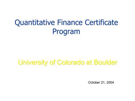 Quantitative Finance Certificate Program
