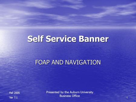 1 Self Service Banner FOAP AND NAVIGATION Fall 2005 Ver 7.1 Presented by the Auburn University Business Office.