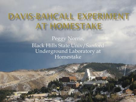 Peggy Norris, Black Hills State Univ/Sanford Underground Laboratory at Homestake.