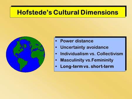 Hofstede's Cultural Dimensions Power distance Uncertainty avoidance Individualism vs. Collectivism Masculinity vs.Femininity Long-term vs. short-term Power.
