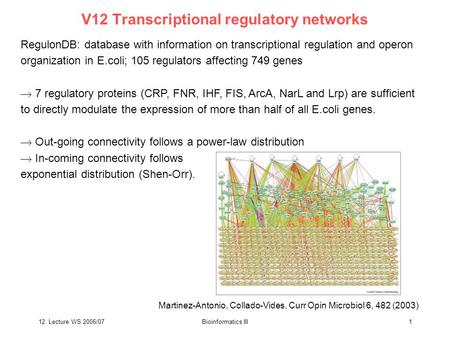12. Lecture WS 2006/07Bioinformatics III1 V12 Transcriptional regulatory networks RegulonDB: database with information on transcriptional regulation and.