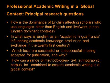 Professional research writing language