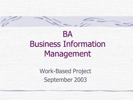 BA Business Information Management Work-Based Project September 2003.