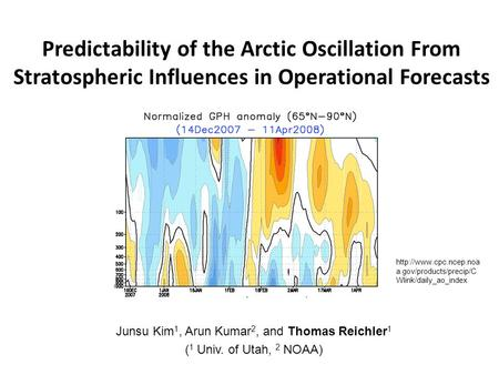 Predictability of the Arctic Oscillation From Stratospheric Influences in Operational Forecasts Junsu Kim 1, Arun Kumar 2, and Thomas Reichler 1 ( 1 Univ.