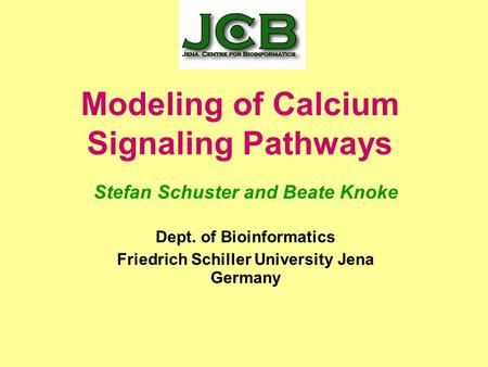 Modeling of Calcium Signaling Pathways Stefan Schuster and Beate Knoke Dept. of Bioinformatics Friedrich Schiller University Jena Germany.