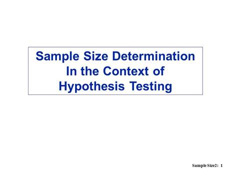 Sample Size Determination In the Context of Hypothesis Testing
