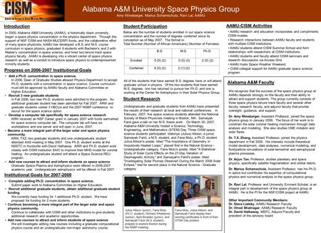 Alabama A&M University Space Physics Group Amy Winebarger, Marius Schamschula, Ravi Lal, AAMU Introduction In 2000, Alabama A&M University (AAMU), a historically.