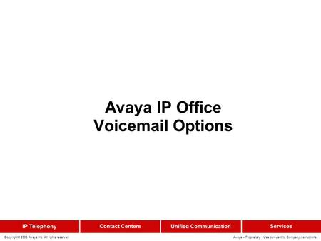 Copyright© 2003 Avaya Inc. All rights reserved Avaya – Proprietary Use pursuant to Company instructions Avaya IP Office Voicemail Options.