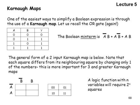 68 Karnaugh Maps One of the easiest ways to simplify a Boolean expression is through the use of a Karnaugh map. Let us recall the OR gate (again!) The.