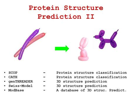 SCOP –Protein structure classification CATH –Protein structure classification genTHREADER–3D structure prediction Swiss-Model–3D structure prediction ModBase-A.