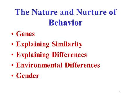 Nature Nurture And Human Diversity Outline