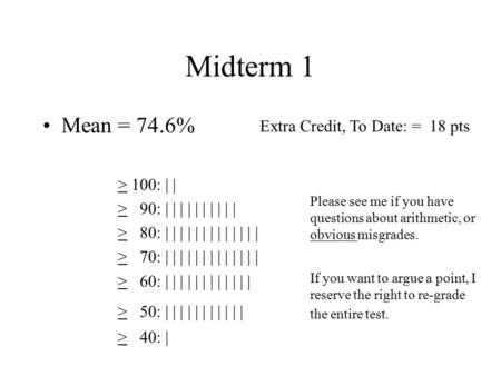 Midterm 1 Mean = 74.6% > 100: | | > 90: | | | | | | | | | | > 80: | | | | | | | | | | | | | > 70: | | | | | | | | | | | | | > 60: | | | | | | | | | |