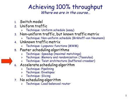 1 Achieving 100% throughput Where we are in the course… 1. Switch model 2. Uniform traffic  Technique: Uniform schedule (easy) 3. Non-uniform traffic,