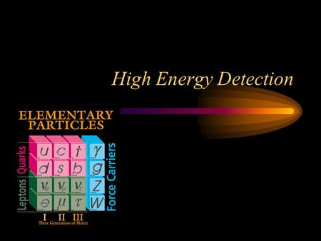 High Energy Detection. High Energy Spectrum High energy EM radiation:  (nm)E (eV) Soft x-rays 10100 X-rays 0.110 K Soft gamma rays 0.0011 M Hard gamma.