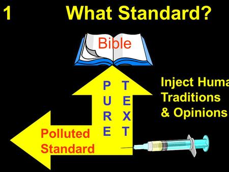 1 What Standard? Bible P T U E R X E T Inject Human Traditions & Opinions Polluted Standard.