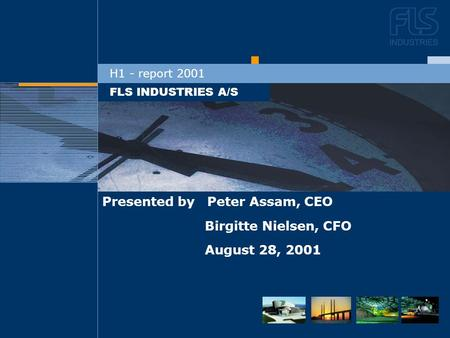 DEN NYE STRATEGI FLS INDUSTRIES A/S H1 - report 2001 Presented by Peter Assam, CEO Birgitte Nielsen, CFO August 28, 2001.