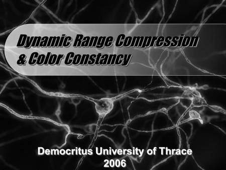 Dynamic Range Compression & Color Constancy Democritus University of Thrace 2006 2006.