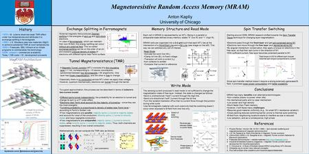 Magnetoresistive Random Access Memory (MRAM) Anton Kapliy University of Chicago Each cell in MRAM is represented by an MTJ. Being in a parallel or antiparallel.