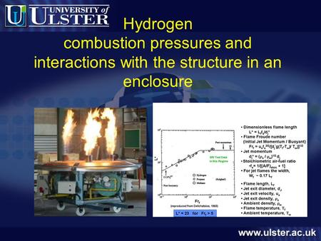 Hydrogen combustion pressures and interactions with the structure in an enclosure.