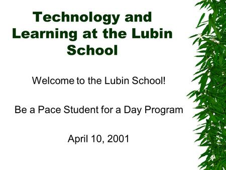 Technology and Learning at the Lubin School Welcome to the Lubin School! Be a Pace Student for a Day Program April 10, 2001.