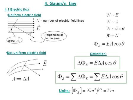 4. Gauss's law 4.1 Electric flux Definition: Uniform electric field Not uniform electric field Perpendicular to the area - number of electric field lines.