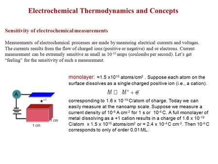 Electrochemical Thermodynamics and Concepts Sensitivity of electrochemical measurements Measurements of electrochemical processes are made by measuring.