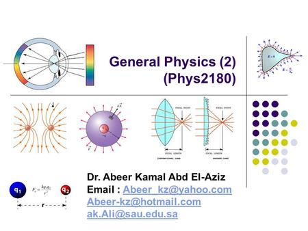 General Physics (2) (Phys2180) Dr. Abeer Kamal Abd El-Aziz
