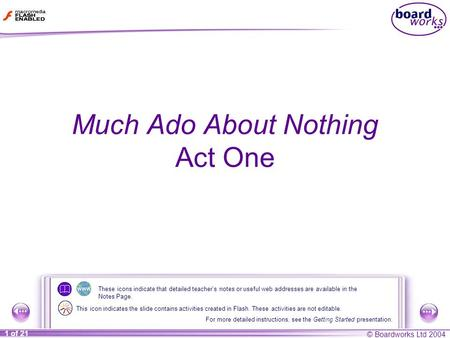 © Boardworks Ltd 2004 1 of 21 Much Ado About Nothing Act One These icons indicate that detailed teacher's notes or useful web addresses are available in.