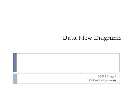 Data Flow Diagrams DT211 Stage 2 Software Engineering.