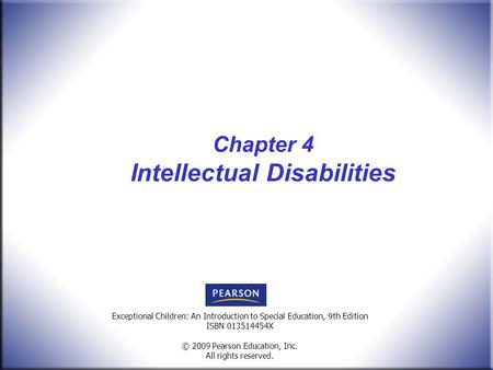 Chapter 4 Intellectual Disabilities
