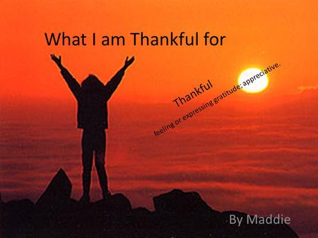 What I am Thankful for By Maddie feeling or expressing gratitude; appreciative. Thankful.