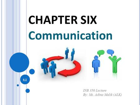 CHAPTER SIX Communication INB 350 Lecture By: Ms. Adina Malik (ALK)