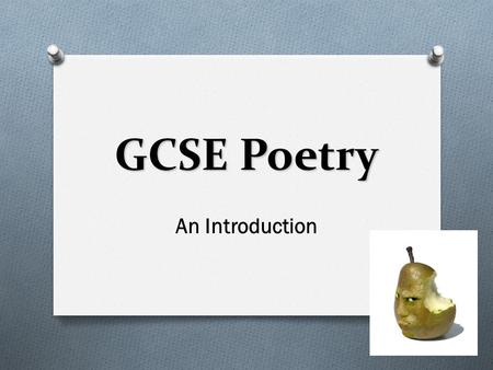 GCSE Poetry An Introduction. Key terms O Alliteration O Imagery O Metaphor O Simile O Personification O Rhyme O Repetition O Onomatopoeia O Enjambment.