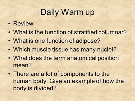 Daily Warm up Review: What is the function of stratified columnar?
