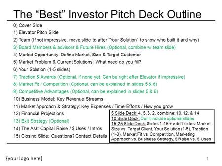"{your logo here} The ""Best"" Investor Pitch Deck Outline 0) Cover Slide 1) Elevator Pitch Slide 2) Team (If not impressive, move slide to after ""Your Solution"""