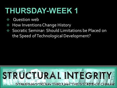 THURSDAY-WEEK 1 Question web How Inventions Change History