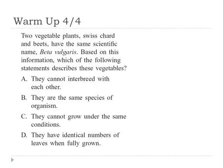 Warm Up 4/4. Plant Quiz  You may use your lab!!