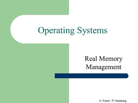 A. Frank - P. Weisberg Operating Systems Real Memory Management.