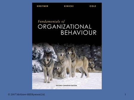 Chapter 7 Groups and Teamwork  2007 McGraw-Hill Ryerson Ltd.