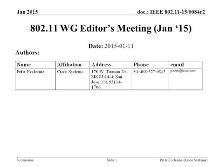 Submission doc.: IEEE 802.11-15/0084r2 Slide 1 802.11 WG Editor's Meeting (Jan '15) Date: 2015-01-11 Authors: Peter Ecclesine (Cisco Systems) Jan 2015.